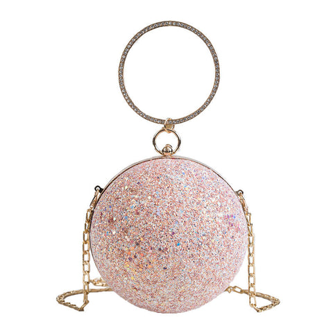 Fashion sequined spherical handbag messenger bag