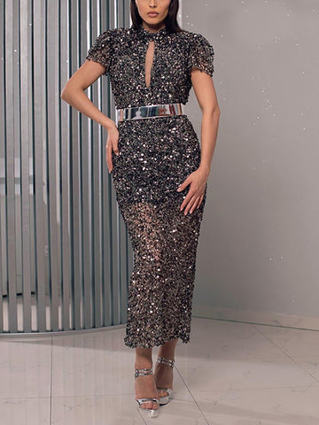 Fashion Sequined Backless Short Sleeve Slim Evening Gown