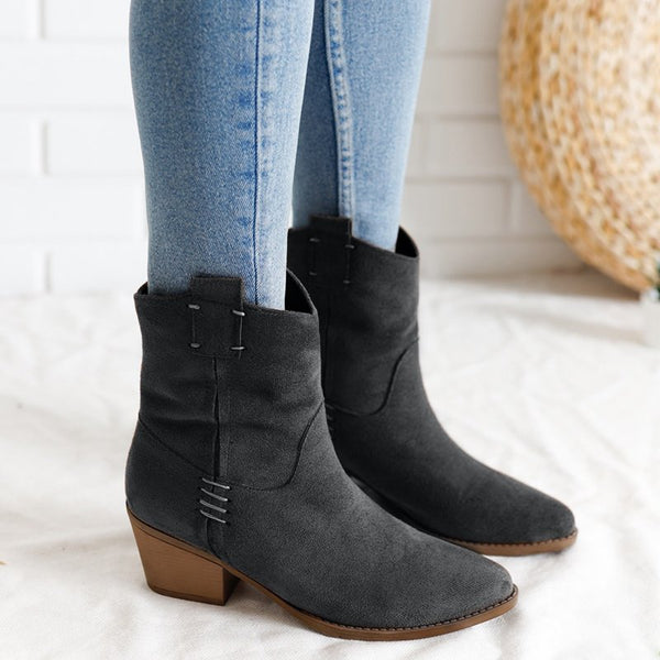 Women Vintage Low Heel Comfy Slip On Boots