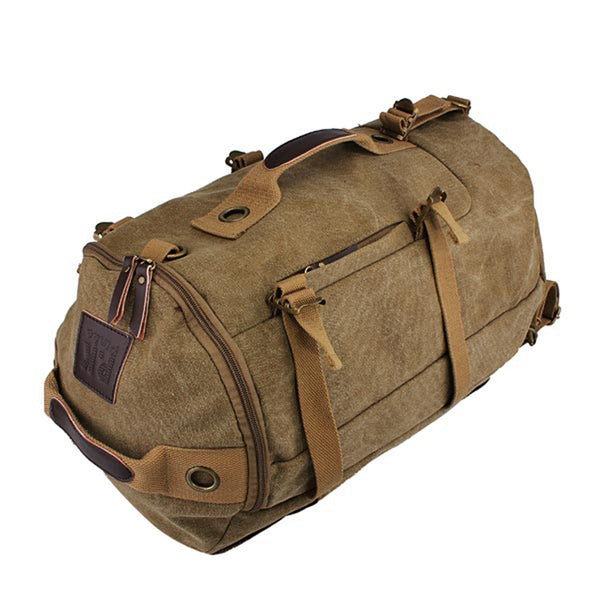 Men Dual-Use Canvas Bucket Backpack Jungle Climbing Bag Laptop Backpack Rucksack Duffel Bag