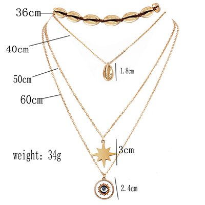 Golden Vintage Holiday Casual Shell Alloy Necklace