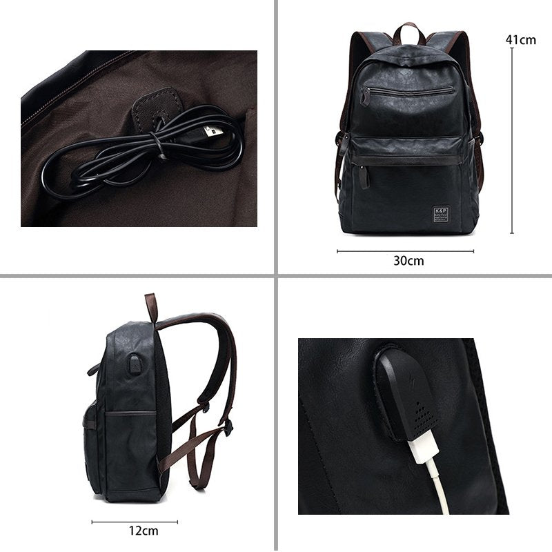Big capacity Multi-functional USB charger PU Leather Zipper Backpack