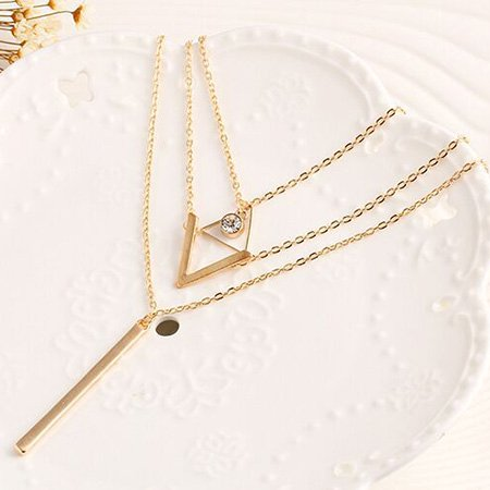Womens Multi-layer Gold Alloy Necklaces