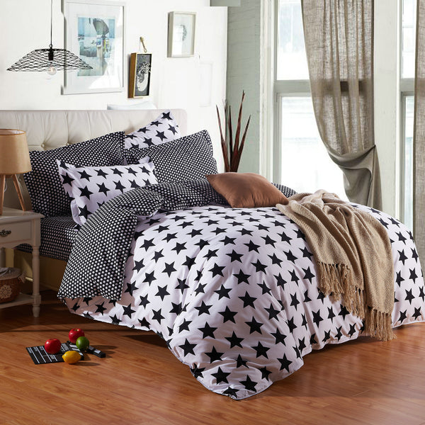 Bedding Sets Four-piece Active Printed Black and White Bedding Four-piece Set