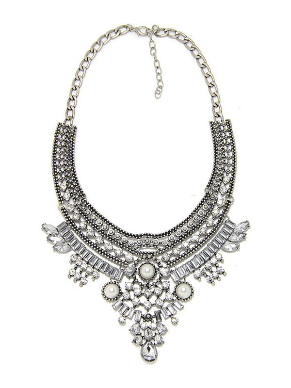 Alloy Artificial Diamond Exaggerated Retro Fringe Women Necklace