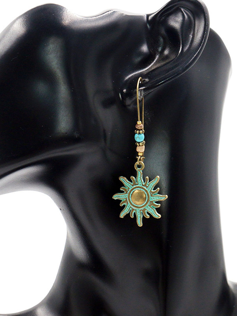Bronze Sun Drop Earrings Danglers Bohemian Vintage Charm Earrings Fashion Retro Personalized Party Accessories Earrings