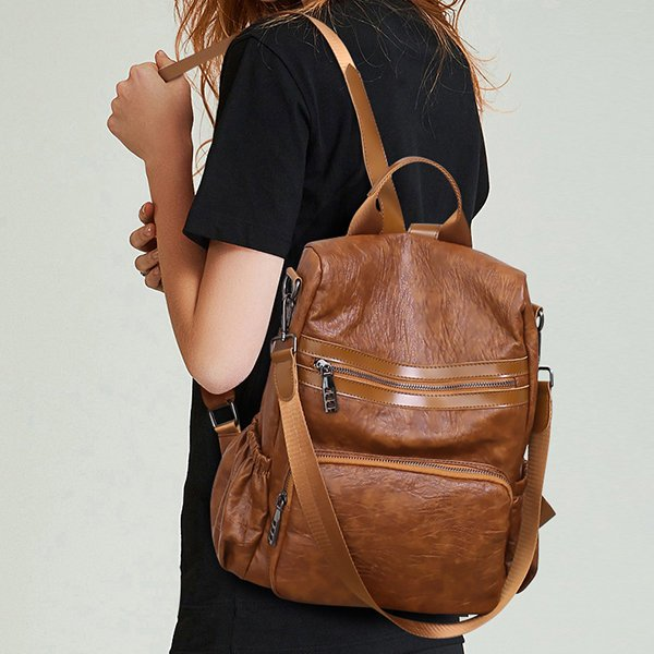 Women Vintage Anti-theft Large Capacity Multi-function Backpack Solid Shoulder Bag