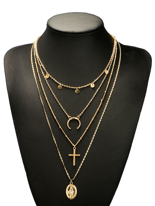 Womens Multi-layer Gold Vintage Alloy Necklaces