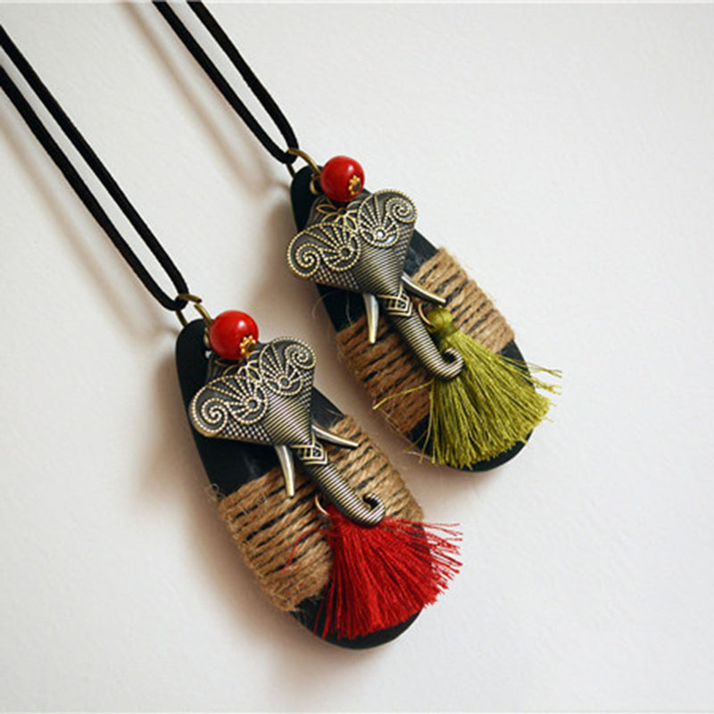 Vintage Hemp rope Tassel Elephant Long Necklace