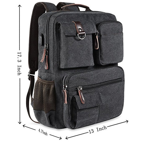 Canvas Travel Backpack Casual Big Capacity Bag With USB Socket Laptop Compartment