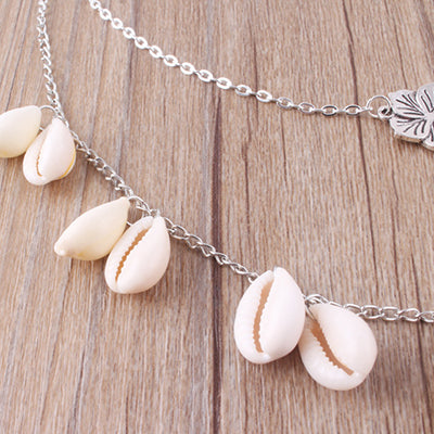 Silver Alloy Shells Vintage Holiday Daily Necklaces