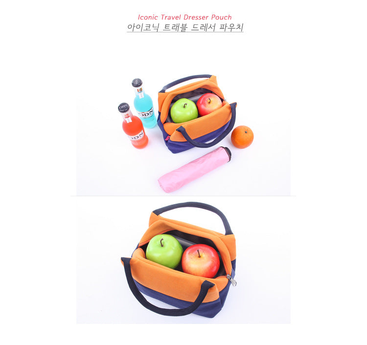 Canvas Casual Portable Lunch Bags Contrast Color Storage Bag