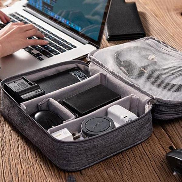 Data Line Power Charger U Disk Multi-function Travel Three-layer Storage Bag