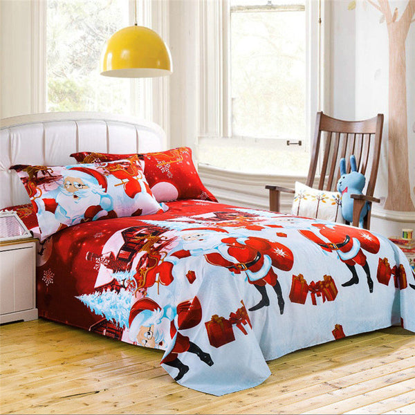 4Pcs Chriatmas Santa Claus Seal, A Set of Bed Linen Quilt Cover, Bed Sheet, Pillow