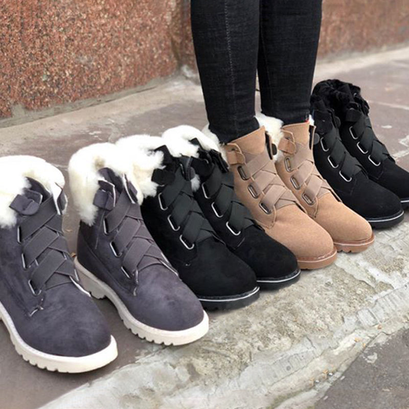 Casual  Slip on Low High Fur Lined Warm Boots