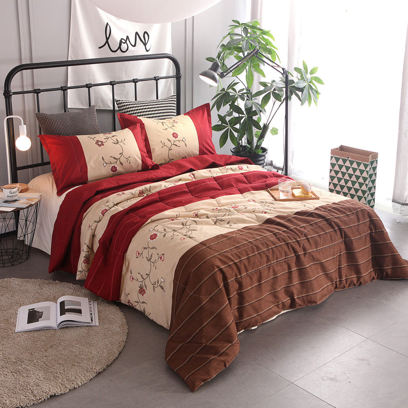 Bedding Sets Stripe Flower Bedding Three-piece Suit