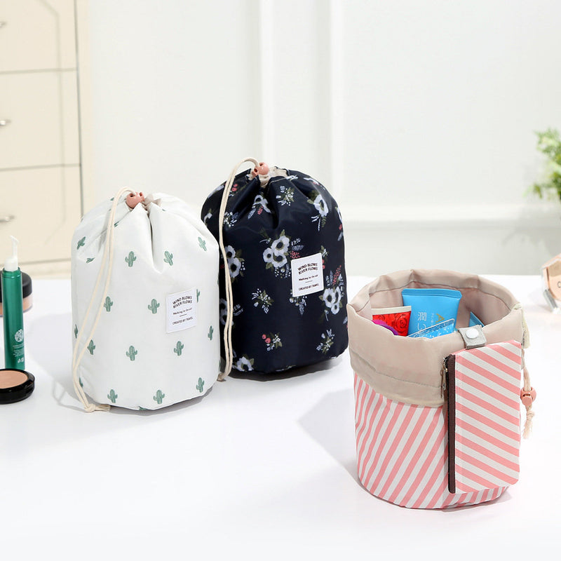 Oxford Cloth Travel Cosmetic Organizer Color Cylinder Drawstring Cosmetic Bag