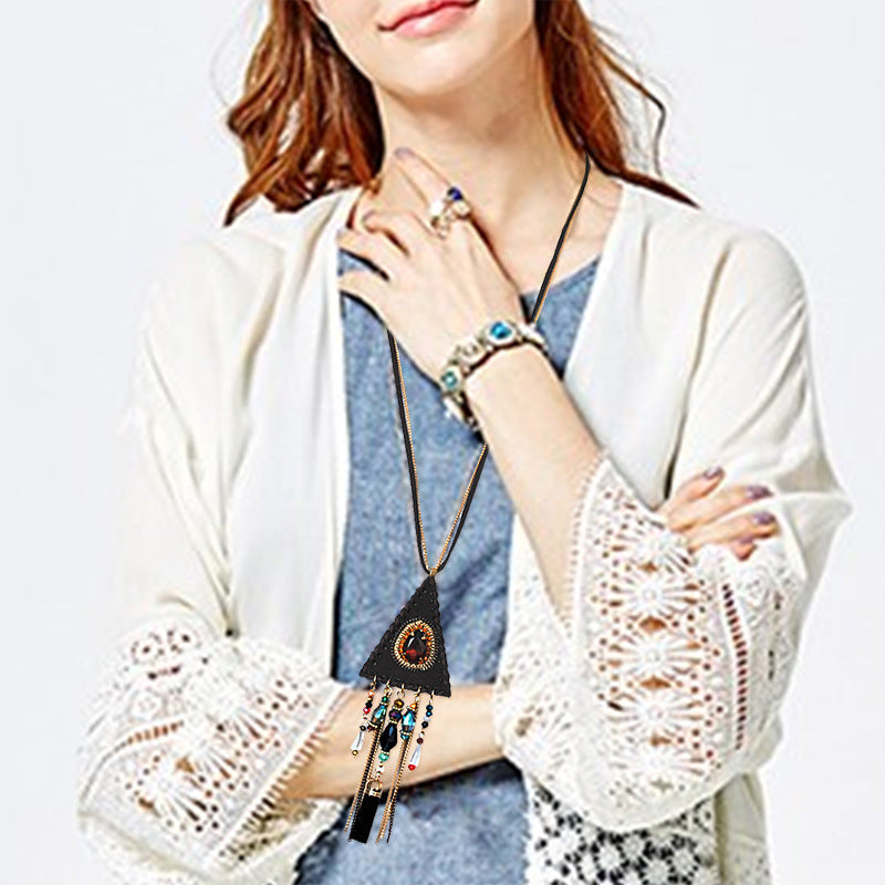 Long Necklace Flannel Triangle Studded Tassel Sweater Chain