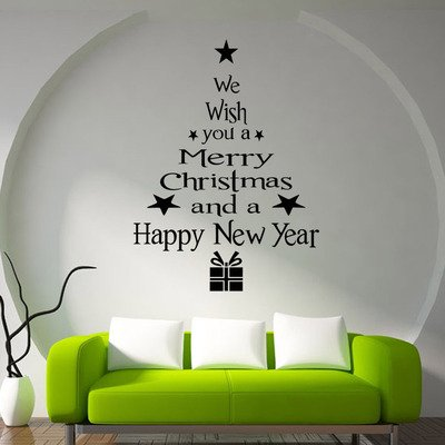 Removable Merry Christmas Tree Wall Stickers Art Vinyl Decal Home Window Decort