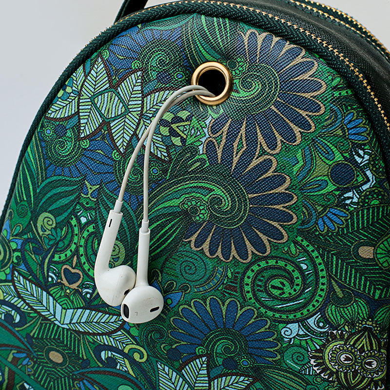 Faux Leather Forest Printed Pattern Backpack Crossbody Bags