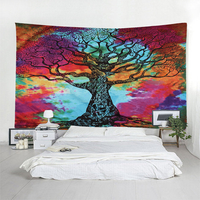 Watercolor Painting Colorful Tree Wall Hanging Tapestry Home Decorative Tapestry