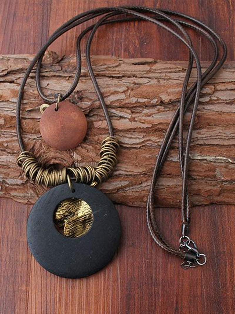 Coffee Alloy Animal Paneled Vintage Women Necklace
