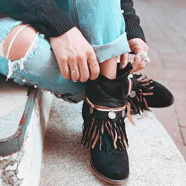 Faux Suede Stylish Taseel Low High Boots