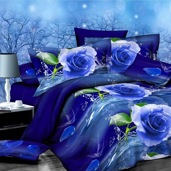3D Bedding Set 3D Oil Painting Bedding Bag 4pcs Bedding Sets Queen Size Flat Pillowcase Sheet Comforter Duvet Cover without Comforter