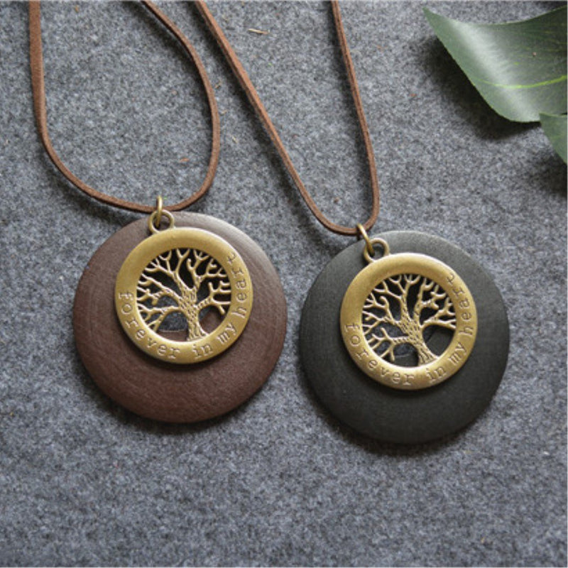 Vintage Tree Embossed Alloy Women Necklace