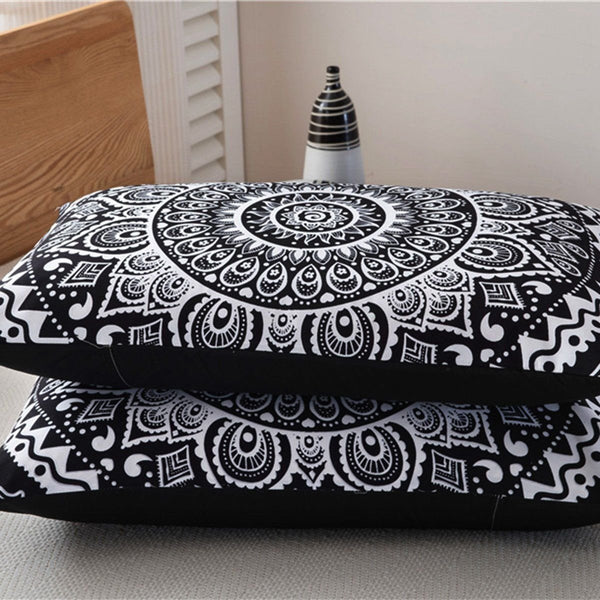 3PCS Indian Mandala Hippie Polyester King Size Bedding Pillowcases Quilt Cover Set