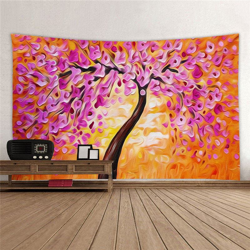 Creative Oil Tree Printed Wall Hanging Tapestries House Bedroom Decor Yoga Mat