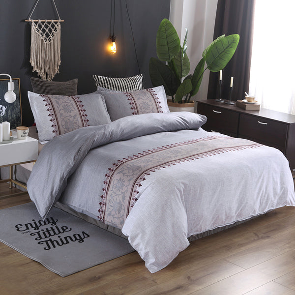 Bedding Sets Simple Plain Quilt Cover Pillowcase Bedding Three-piece Suit