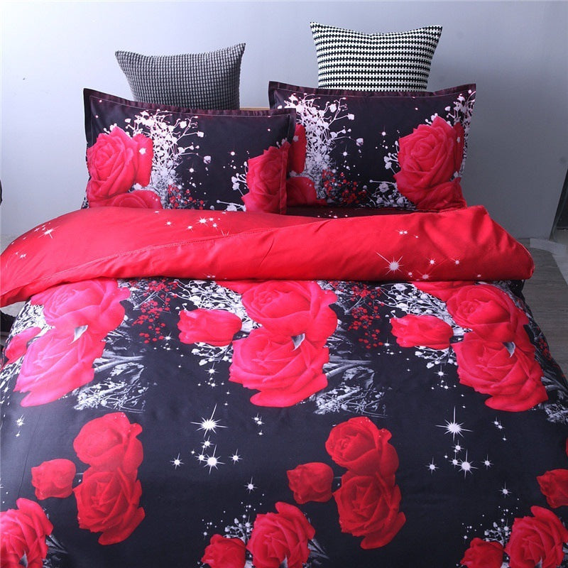 Bedding Sets Rose Bedding Three-piece Suit