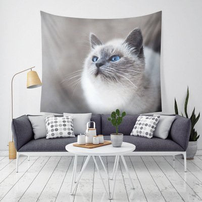 Cute Cat Polyester Wall Hanging Tapestry Home Decor
