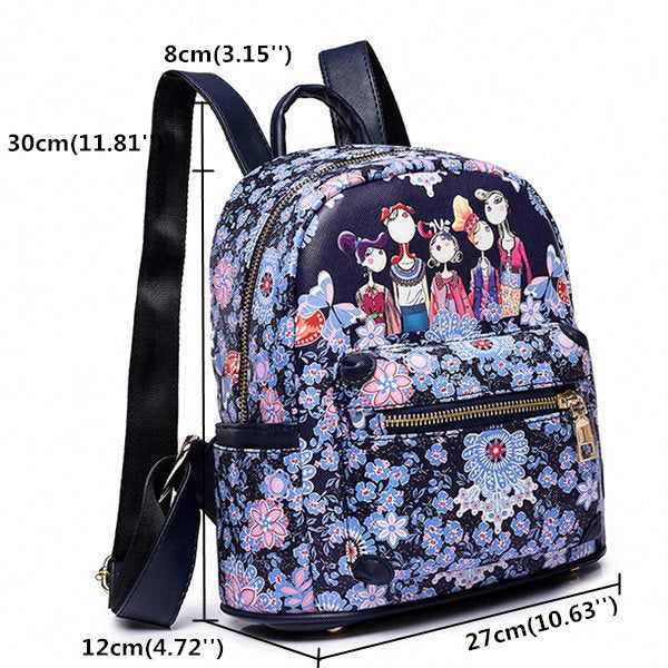 Women Bohemian Forest Series Floral Print Backpack 2 Size Large Capacity Bags