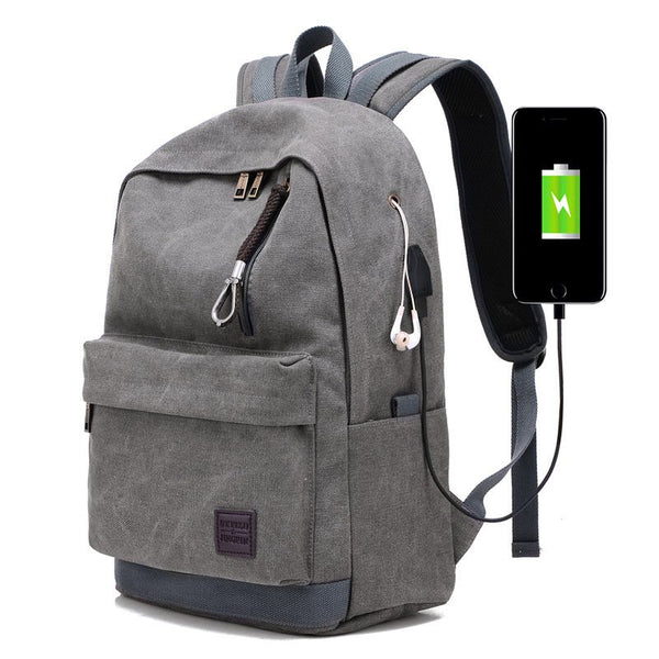 Canvas USB Charging Earphone Backpack