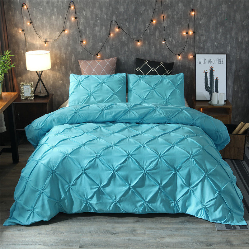 Bedding Sets Silk Flower Craft Bedding Pure Three-piece Suit