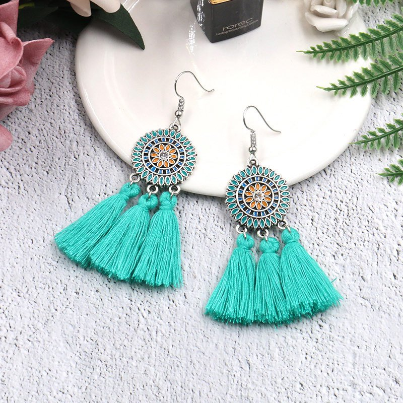 Vintage Women Round Tassel Drop Earrings