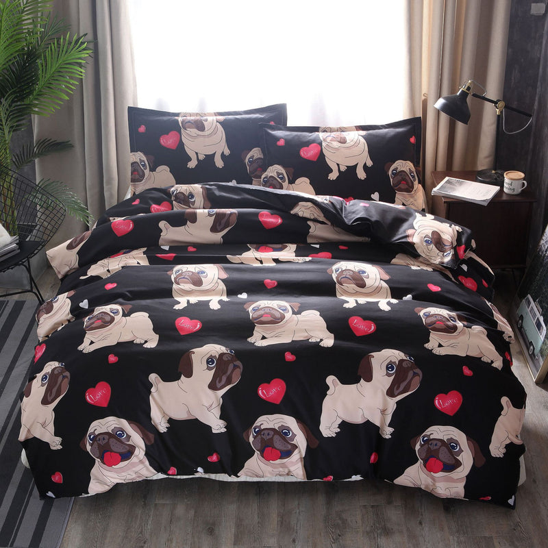 Bedding Sets Bulldog dog Bedding Three-piece Suit