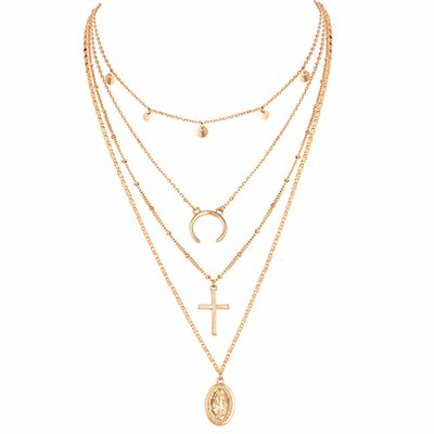 Golden Vintage Holiday Daily Elegant  Date Alloy Necklace