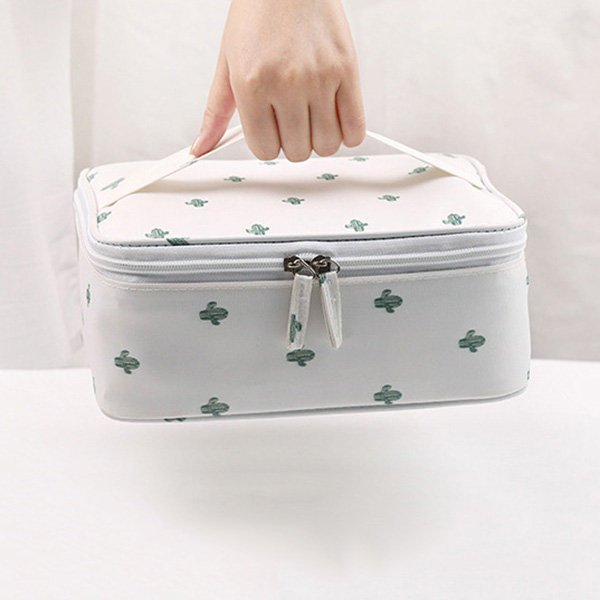 Women Collapsible Portable Cosmetic Bags Tabs Adjustable Storage Bag