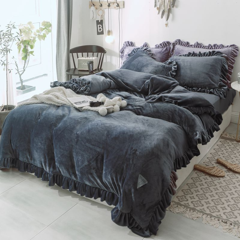 3/4Pcs Flannel Flouncing Bedding Set Solid Color Winter Full Queen King Duvet Quilt Cover Bed Sheet