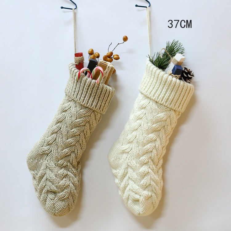【Free shipping】Knitted Woolen Hanging Gift Bag Twist Leaf Flower Trumpet 37 and Large 46 Candy Christmas Stockings
