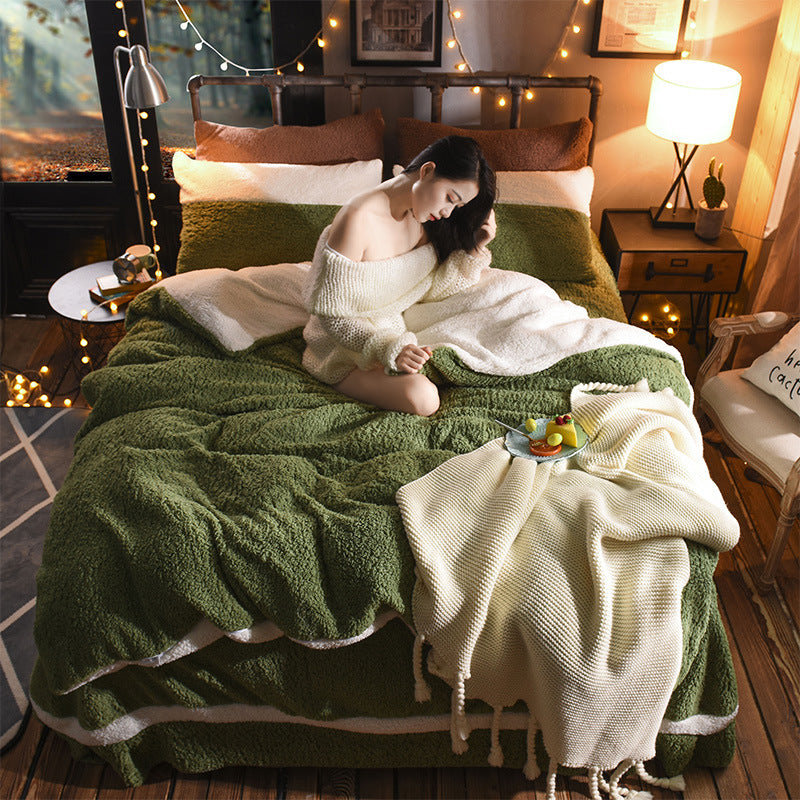 4Pcs Shearling Nordic Style Solid Color Bedding Sets Queen King Quilt Cover Bed Skirt Pillowcase