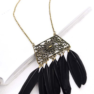 Black Alloy Vintage Feather Daily Holiday Necklace