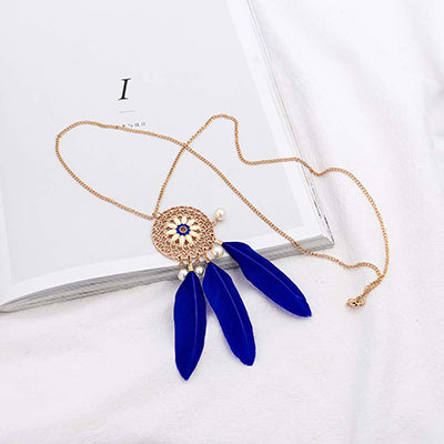 Blue Vintage Daily Date Feather Alloy Necklace