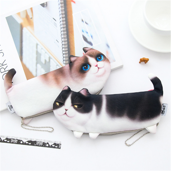 Cartoon Cat Pencil Case Soft cloth School Stationery Pen Bag Gift