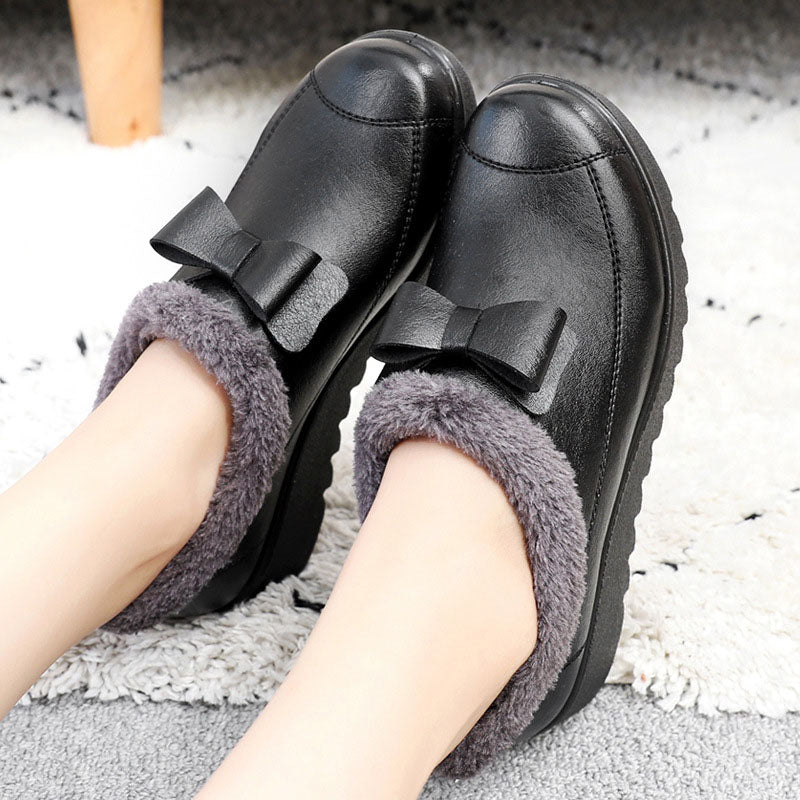Women Round Toe Warm Snow Boots  Bowknot Pu Flat Heel Shoes