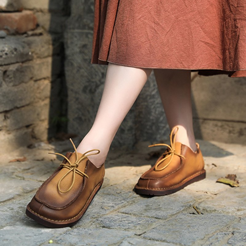 Lace-Up Pu Flat Heel Winter Flats