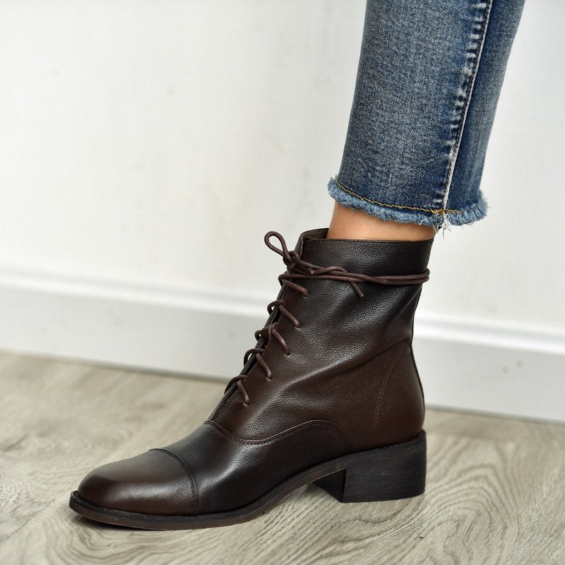 Black Pu Low Heel Winter Lace-Up Boots